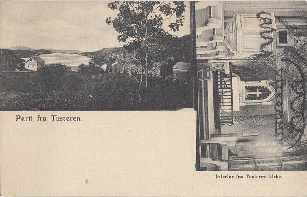 Parti fra Tusteren. Interiør fra Tusteren kirke.