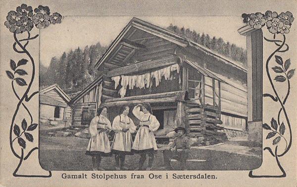 Gamalt Stolpehus fraa Ose i Sætersdalen.