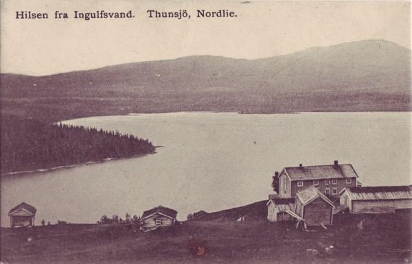 Hilsen fra Ingulfsvand. Thunsjö, Nordlie.
