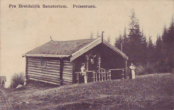 Fra Breidablik Sanatorium. Peisestuen.