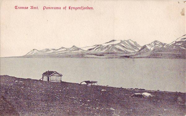 Tromsø Amt. Panorama af Lyngenfjorden.