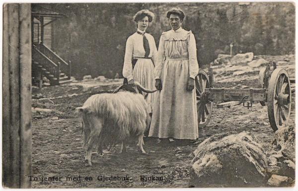 To jenter med en Gjedebuk. Rjukan.