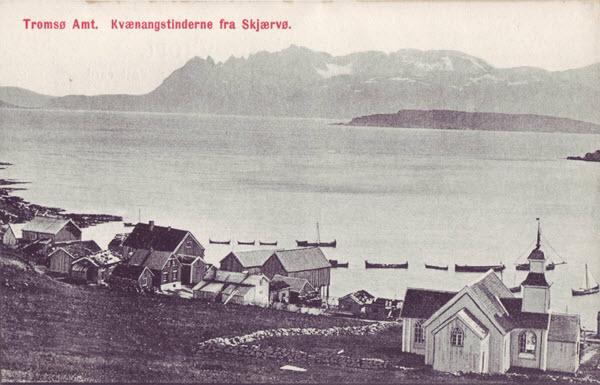 Tromsø Amt. Kvænangstinderne fra Skjærvø.