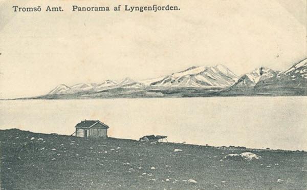 Tromsö Amt. Panorama af Lyngenfjorden.