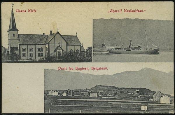 Nesne Kirke. Thorolf Kveldulfsen. Parti fra Rugløen, Helgeland.